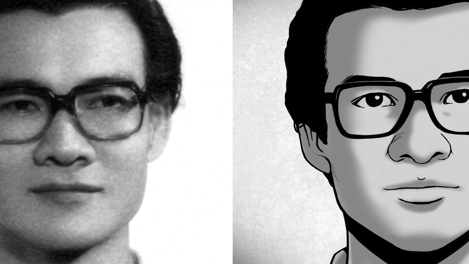 """Dr. Haing S. Ngor in a photo taken in Phnom Penh, 1975, just a few months prior to the capture of Cambodia by the Khmer Rouge. On the left is an illustration of the photo as seen in an animated scene in """"The Killing Fields of Dr. Haing S. Ngor."""" Photo courtesy of the Dr. Haing S. Ngor Archive. Illustration by Yori Mochizuki."""