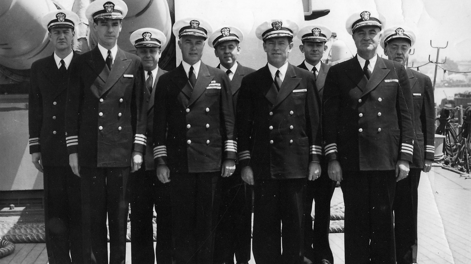 Captains in formation atop USS Indianapolis. Photo courtesy of Alfred J. Sedivi Collection - USNI.