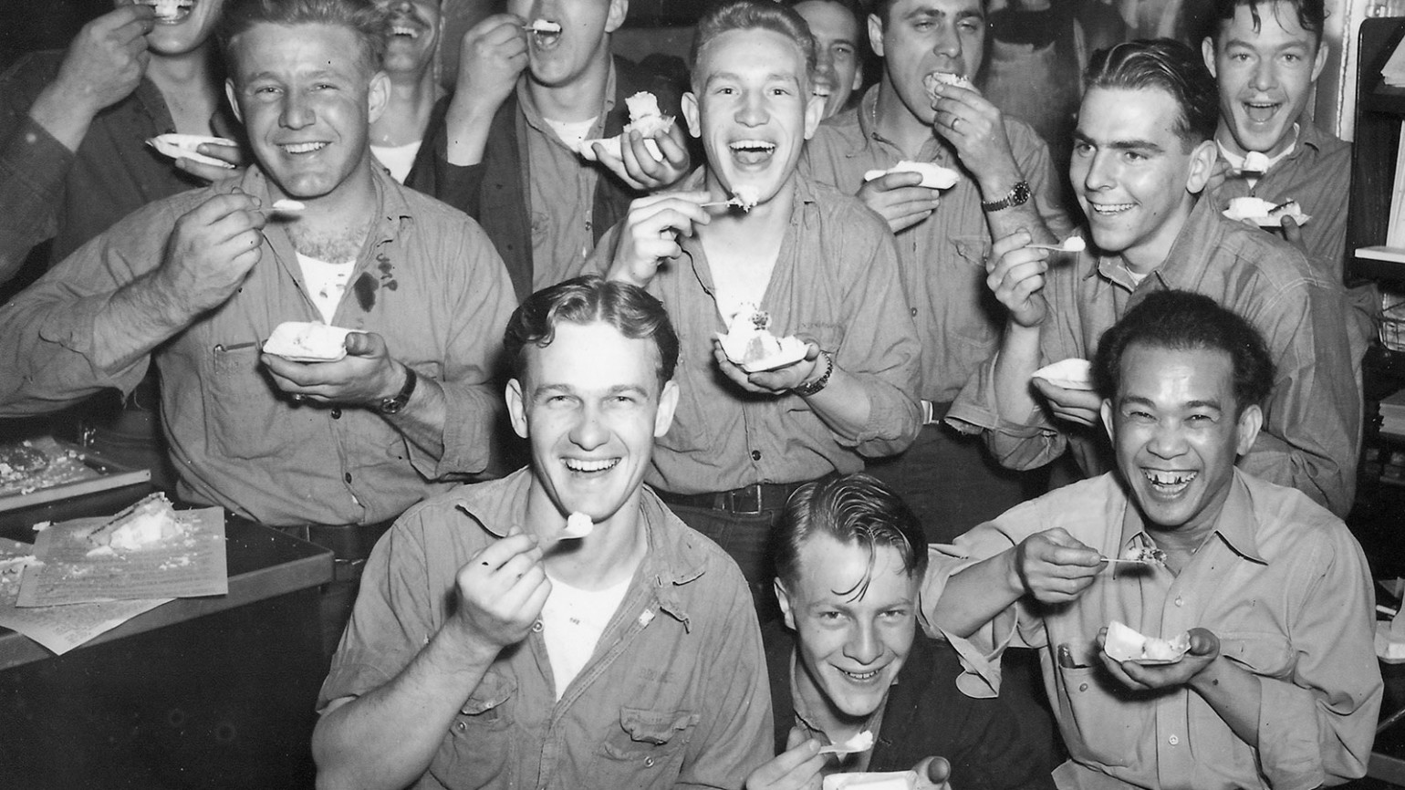 """Navy men posing for a picture inside the USS Indianapolis. Photo courtesy of Alfred J. Sedivi Collection - USNI. """""""