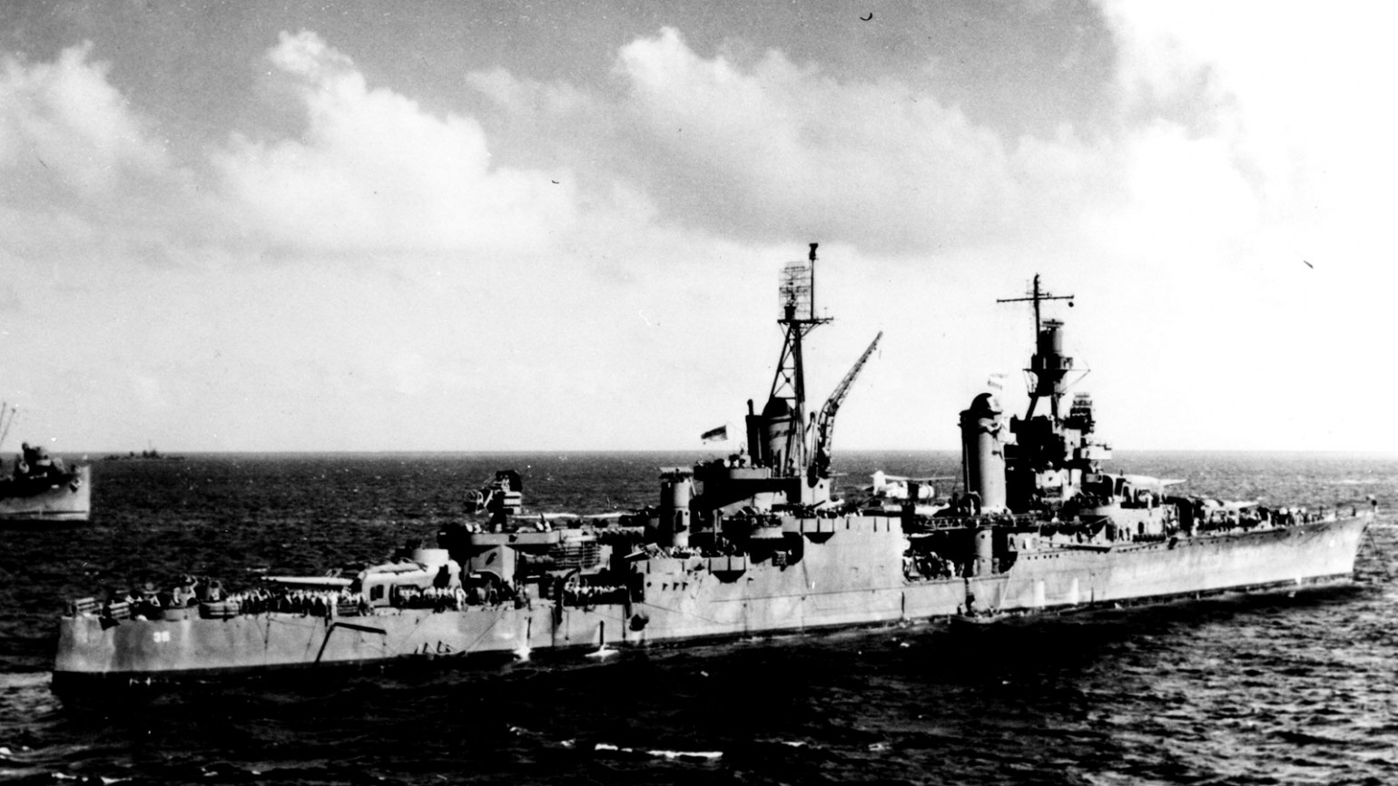 USS Indianapolis ship sailing through waters. Photo courtesy of Alfred J. Sedivi Collection - USNI.