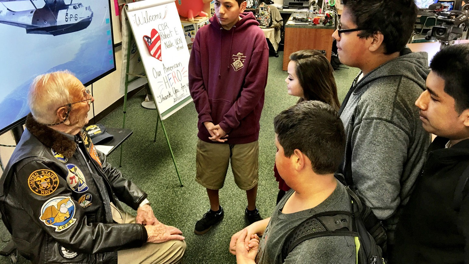 Robert Noble sharing his story with middle school students. Photo courtesy of Rancho Minerva Middle School.