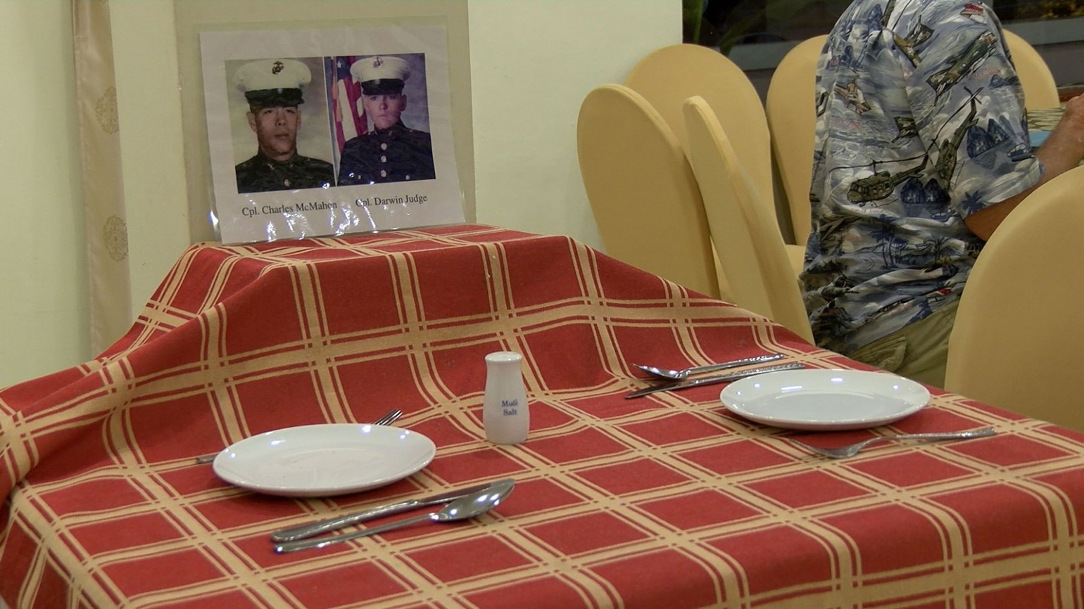 Table set for fallen friends Cpl. Charles McMahon and Cpl. Darwin Judge. Photo courtesy of Pat Clark.