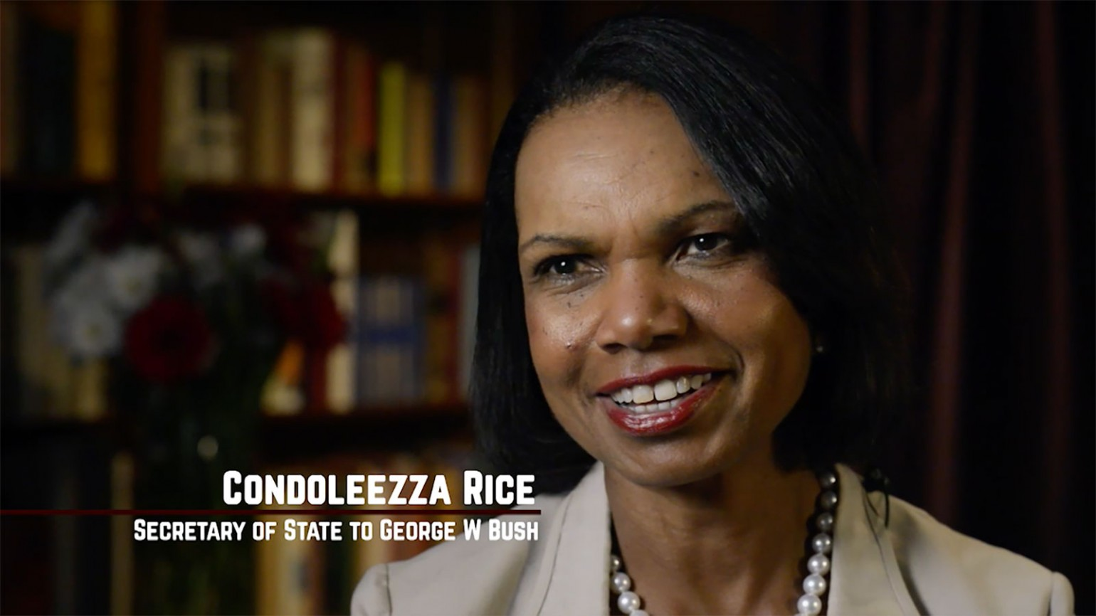 "Still image of interview with Condoleezza Rice from film ""American Umpire."" Photo courtesy of James Shelley."