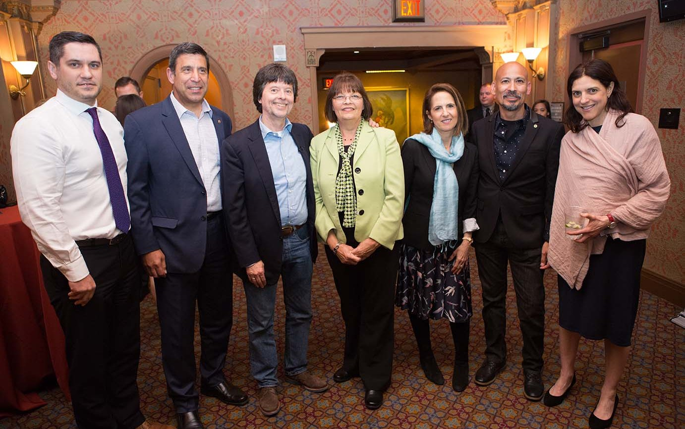 Filmmakers Ken Burns, Lynn Novick, and Sarah Botstein meet with guests and supporters.