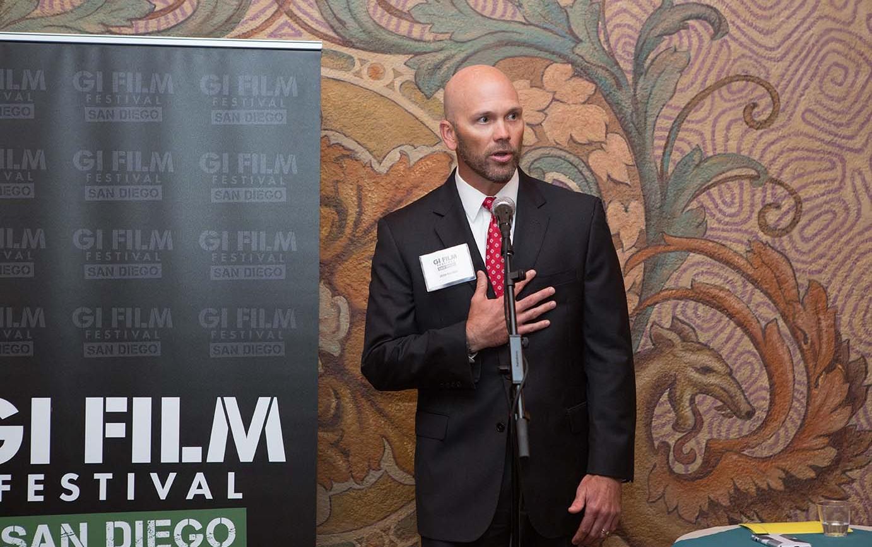 Guest Dean Ridgway speaking at reception.