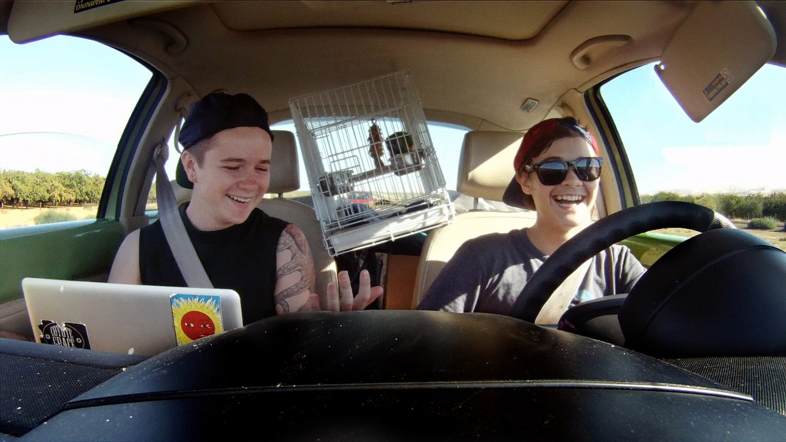 Bennett and Dylan in car