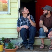 Bennett and Joe on porch