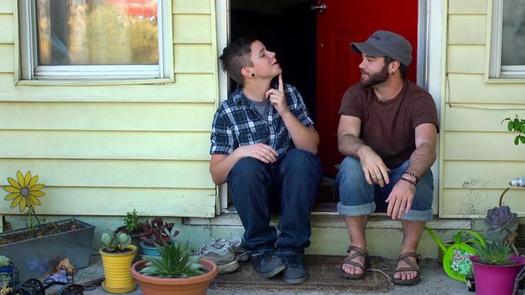 Bennett and Joe on porch