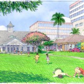 Children play and laugh in the open courtyard at Central Union Preschool in Honolulu, Hawaii. Hitoshi Hida created this architectural rendering for Group 70 International to depict the proposed re-design of the administration building and classrooms, inspired by Hawaii's historic plantation-style housing.