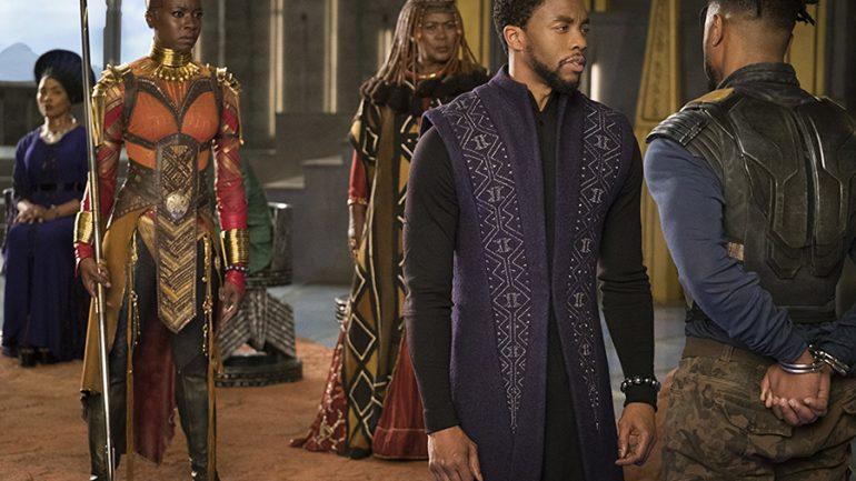 Angela Bassett, Connie Chiume, Michael B. Jordan, Chadwick Boseman, and Danai Gurirain Black Panther (2018)