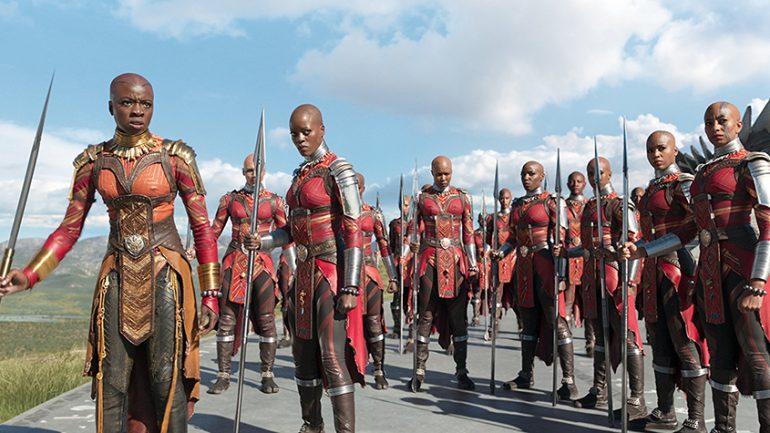 Florence Kasumba, Danai Gurira, and Sydelle Noel in Black Panther (2018); © 2017 - Disney/Marvel Studios