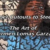Poster for a short film called Paper Cutouts to Steel featuring the art of Carmen Lomas Garza