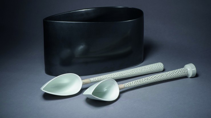 Prue Venables Black oval vessel with two spoons