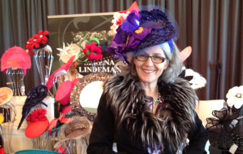 Serena Lindemann displaying millinery