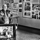 """91 year old Robert Noble being interviewed for film """"Living History: Our Hometown Hero."""" Photo courtesy of Rancho Minerva Middle School."""