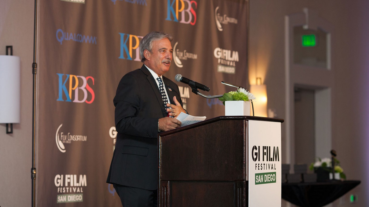 KPBS General Manager Tom Karlo remarks during the closing celebration.