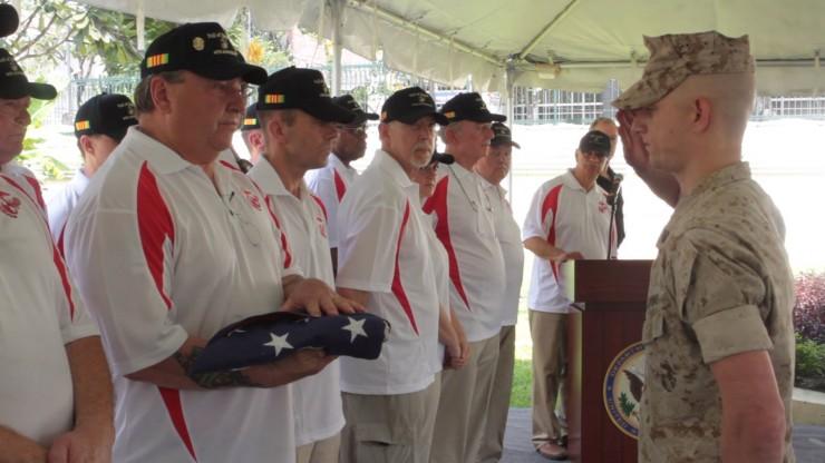 Ceremony commemorating fallen veterans at Saigon. Photo courtesy of Pat Clark.