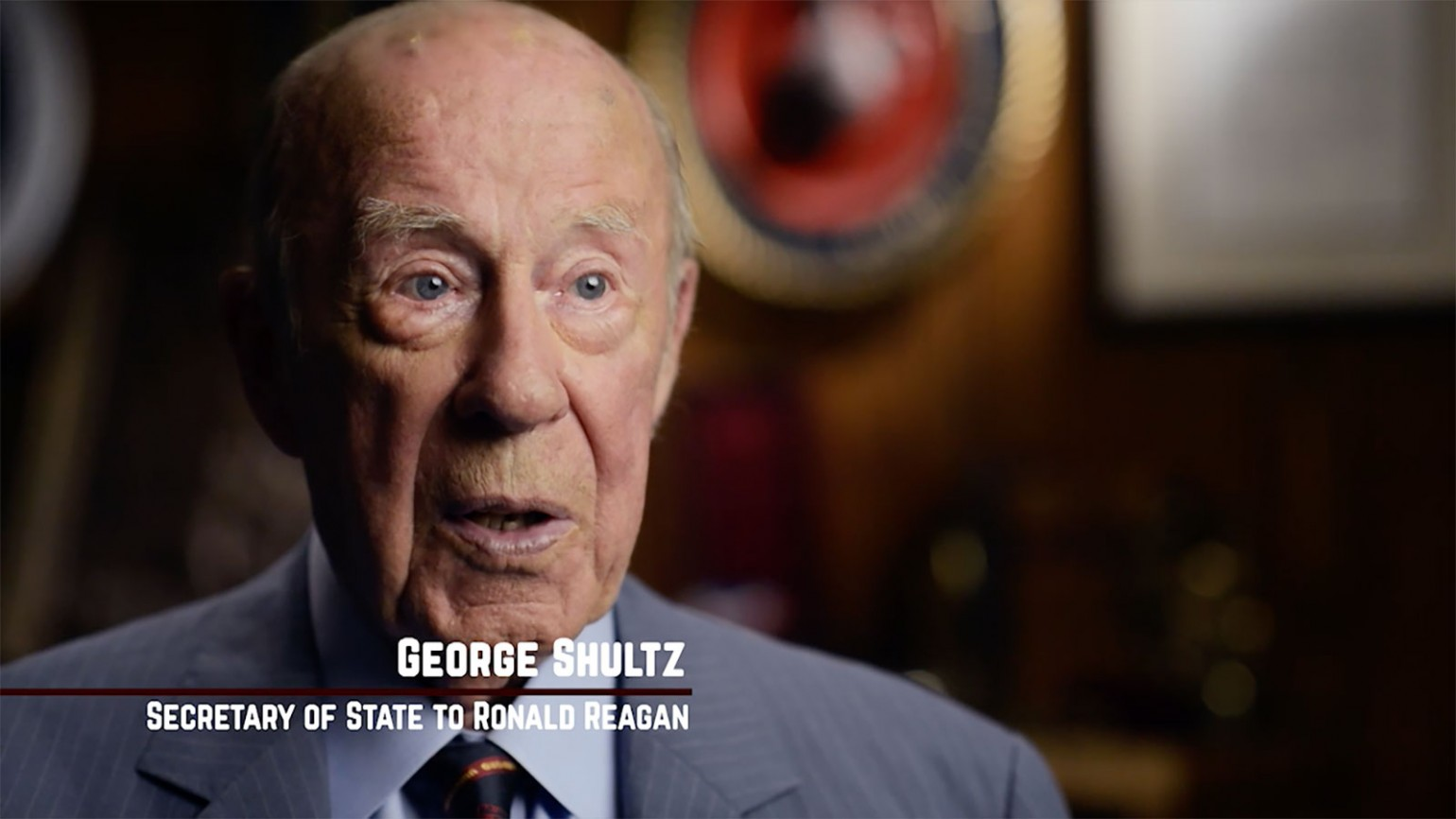 """Still image from interview with George Shultz during film """"American Umpire."""" Photo courtesy of James Shelley."""