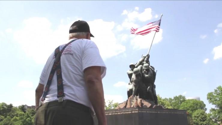 Veteran in Washington D.C. visiting the veterans memorials. Photo courtesy of Travis Weger.
