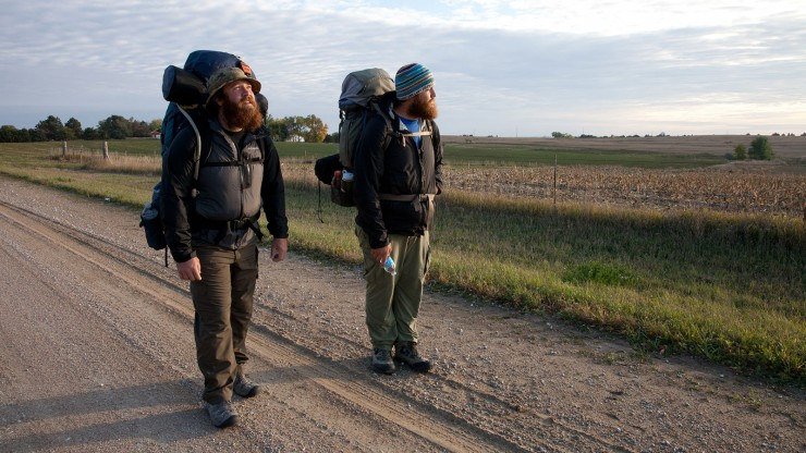 """Tom Voss (left) and Anthony Anderson (right) walking in the film """"Almost Sunrise."""" Photo courtesy of Michael Collins."""