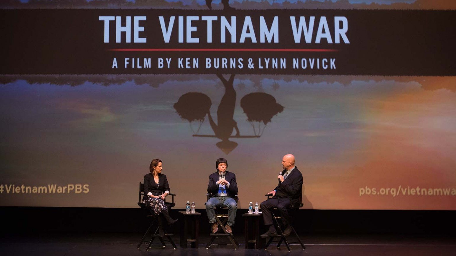 Filmmakers Lynn Novick and Ken Burns with KPBS Military Reporter Steve Walsh.